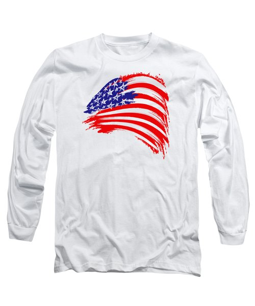 Painted American Flag Long Sleeve T-Shirt