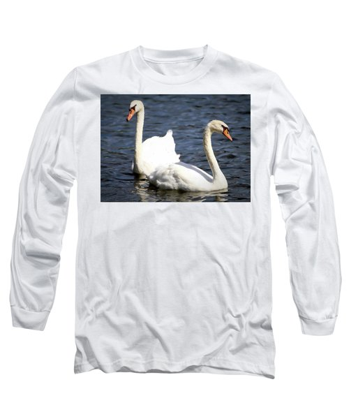Painted Mute Swans Of Lake Junaluska North Carolina II Long Sleeve T-Shirt