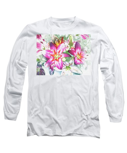Painterly Pink Tiger Lilies Long Sleeve T-Shirt by Annie Zeno