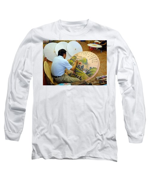 Painting Chinese Oil-paper Umbrellas Long Sleeve T-Shirt by Yali Shi