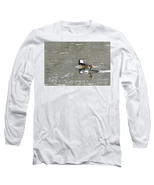Long Sleeve T-Shirt featuring the photograph Pair Of Hooded Mergansers by Larry Ricker