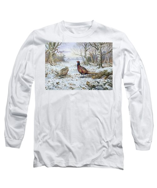 Pair Of Pheasants With A Wren Long Sleeve T-Shirt by Carl Donner