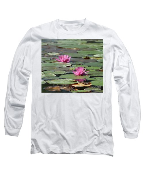 Pair Of Pink Pond Lilies Long Sleeve T-Shirt
