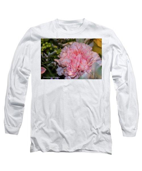 Pale Pink Carnation Long Sleeve T-Shirt by Nance Larson