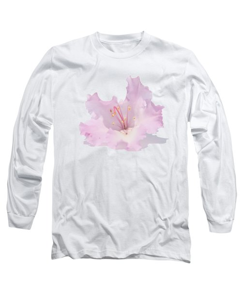 Pale Pink Rhododendron On Transparent Background Long Sleeve T-Shirt