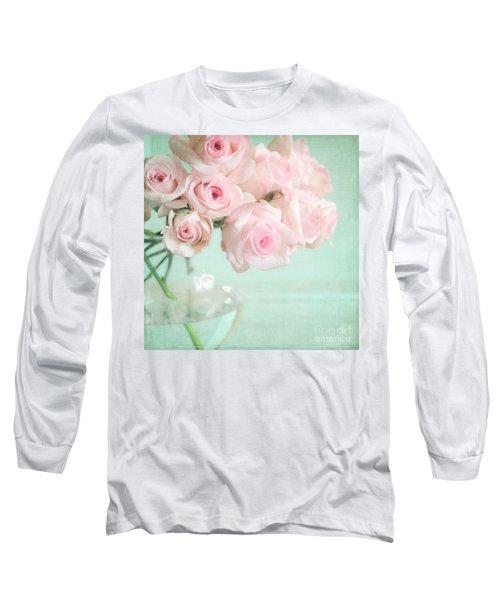 Pale Pink Roses Long Sleeve T-Shirt by Lyn Randle