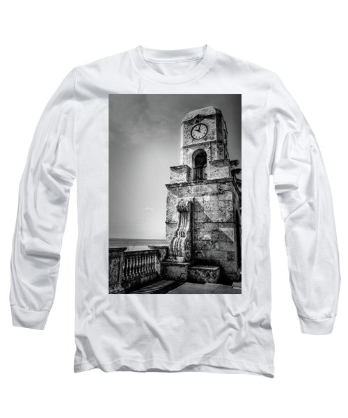 Palm Beach Clock Tower In Black And White Long Sleeve T-Shirt