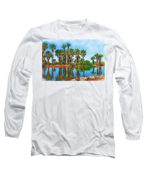 Palm Reflections Sketched Long Sleeve T-Shirt by Kirt Tisdale
