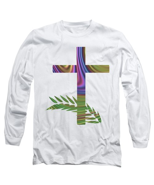 Palm Sunday Cross With Fractal Abstract Long Sleeve T-Shirt