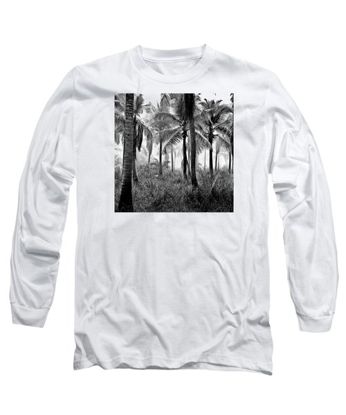 Palm Trees - Black And White Long Sleeve T-Shirt