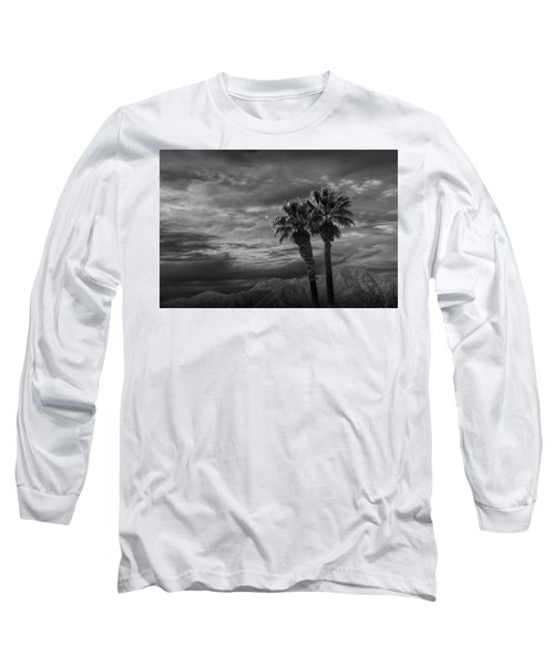 Long Sleeve T-Shirt featuring the photograph Palm Trees By Borrego Springs In Black And White by Randall Nyhof