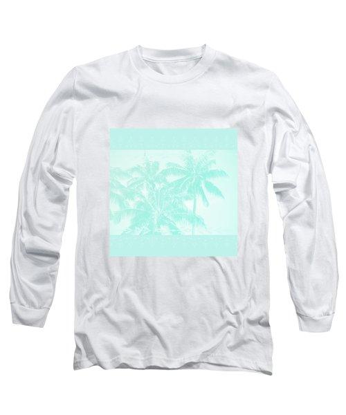 Palm Trees Hawaii Tropical Cyan Long Sleeve T-Shirt