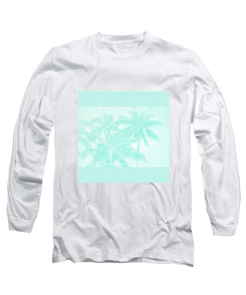Palm Trees Hawaii Tropical Cyan Long Sleeve T-Shirt