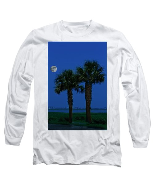 Palms And Moon At Morse Park Long Sleeve T-Shirt