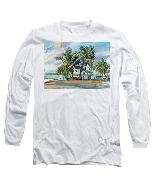 Palms On Sanibel Long Sleeve T-Shirt by Donald Maier