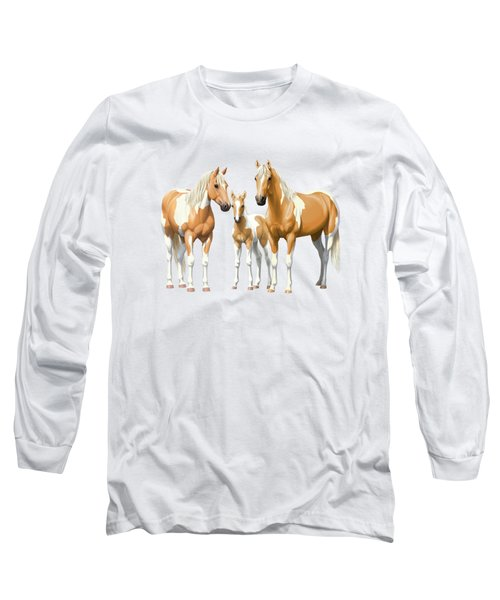 Palomino Paint Horses In Winter Pasture Long Sleeve T-Shirt