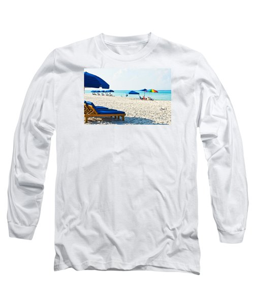 Panama City Beach Florida With Beach Chairs And Umbrellas Long Sleeve T-Shirt