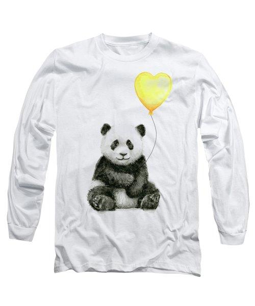 Panda Baby With Yellow Balloon Long Sleeve T-Shirt