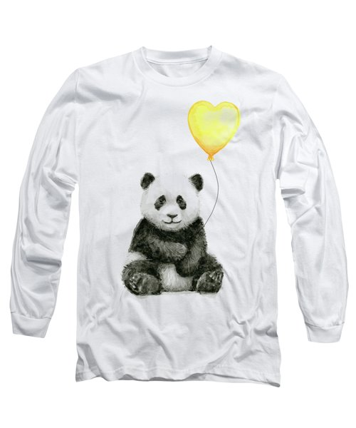 Panda Baby With Yellow Balloon Long Sleeve T-Shirt