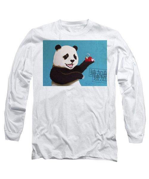 Panda Joy Blue Long Sleeve T-Shirt