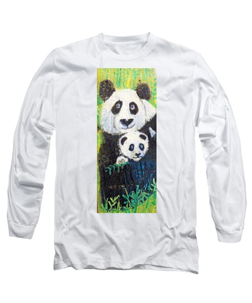 Panda Mother And Cub Long Sleeve T-Shirt by Ann Michelle Swadener