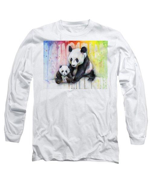 Panda Watercolor Mom And Baby Long Sleeve T-Shirt