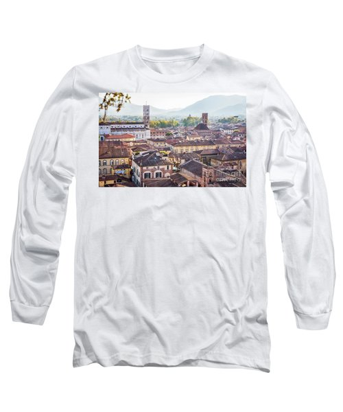 panorama of old town Lucca, Italy Long Sleeve T-Shirt