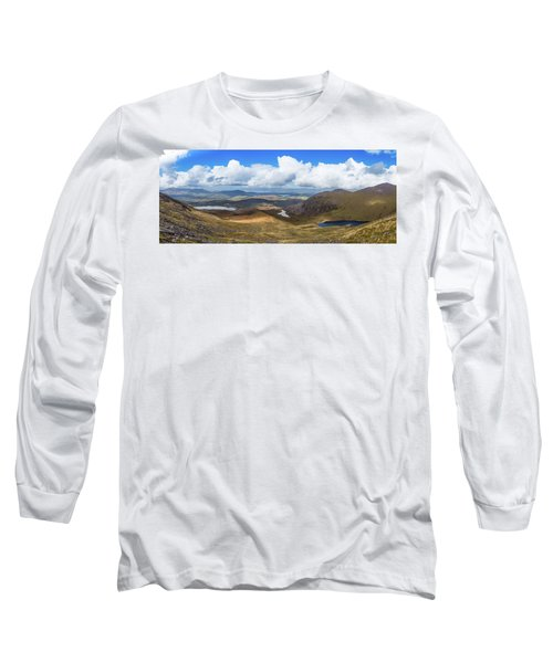 Panorama Of Valleys And Mountains In County Kerry On A Summer Da Long Sleeve T-Shirt by Semmick Photo