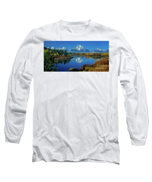 Panorama Oxbow Bend Grand Tetons National Park Wyoming Long Sleeve T-Shirt