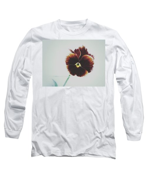 Long Sleeve T-Shirt featuring the photograph Pansy Face by Karen Stahlros