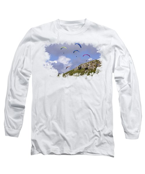 Paragliding Over Sennen Cove On Transparent Background Long Sleeve T-Shirt