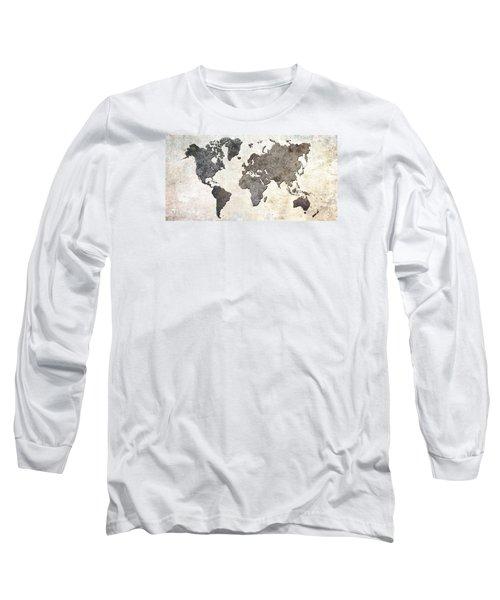 Parchment World Map Long Sleeve T-Shirt by Douglas Pittman