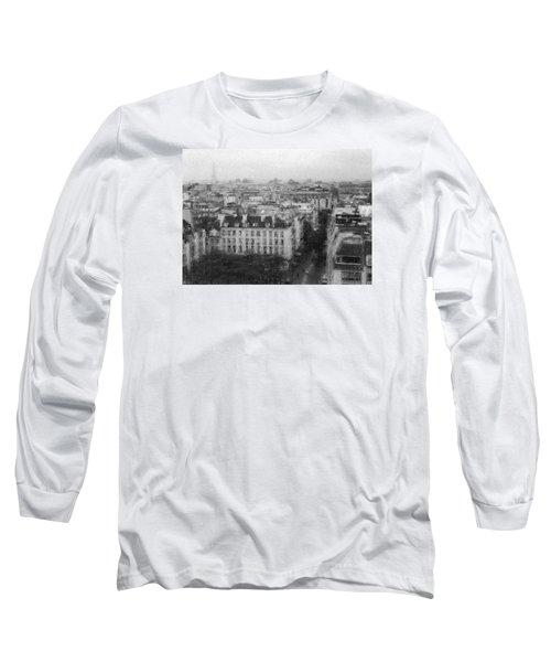 Paris In The Rain  Long Sleeve T-Shirt by Dubi Roman
