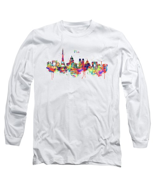 Paris Skyline 2 Long Sleeve T-Shirt by Marian Voicu