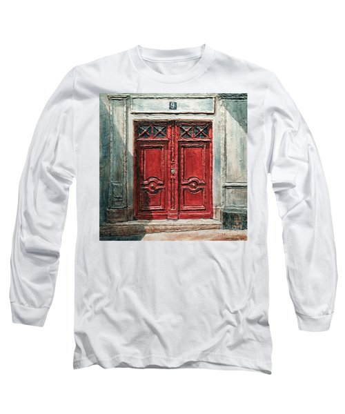 Parisian Door No.9 Long Sleeve T-Shirt by Joey Agbayani