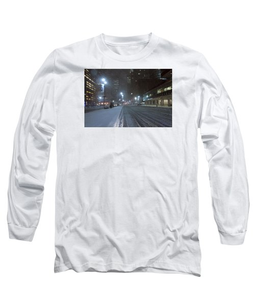 Park Avenue Near Lever Building In Snow Storm Late Night Long Sleeve T-Shirt
