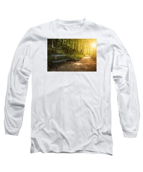 Long Sleeve T-Shirt featuring the photograph Park Bench In Fall by Chevy Fleet
