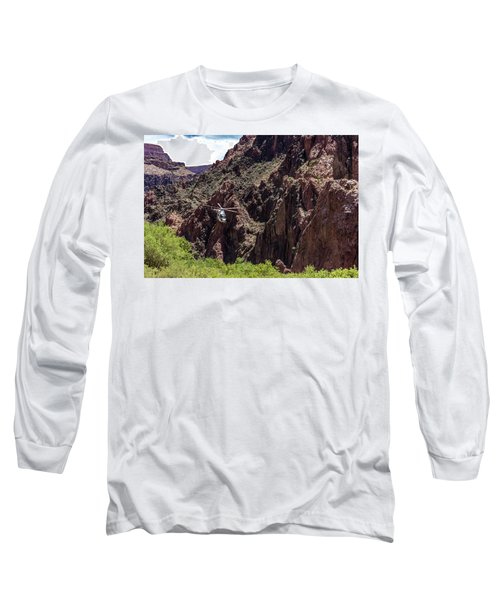 Park Service Helicopter In The Grand Canyon  Long Sleeve T-Shirt