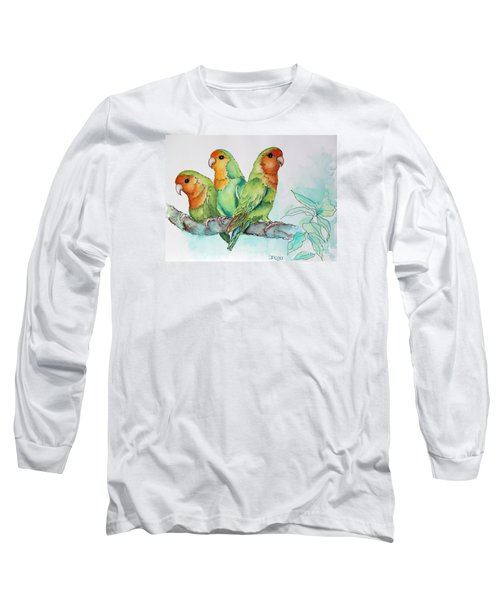Long Sleeve T-Shirt featuring the painting Parrots Trio by Inese Poga
