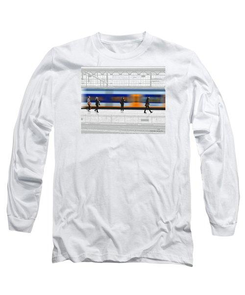 Passing Train Long Sleeve T-Shirt by Pedro L Gili
