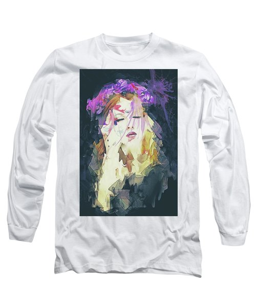 Long Sleeve T-Shirt featuring the digital art Path Abstract Portrait by Galen Valle
