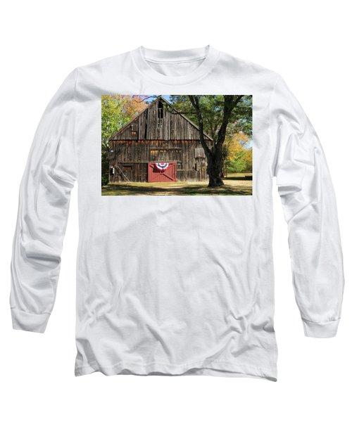 Patriotic Barn Long Sleeve T-Shirt by Nancy De Flon