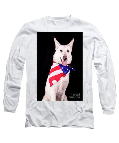 Patriotic Dog Long Sleeve T-Shirt by Stephanie Hayes