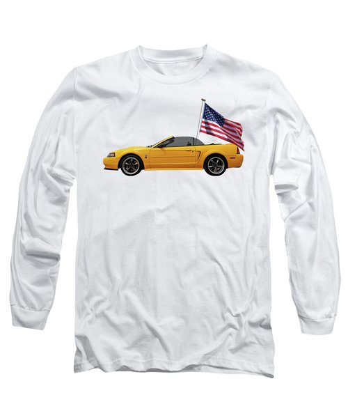 Long Sleeve T-Shirt featuring the photograph Patriotic Yellow Mustang With Us Flag by Gill Billington