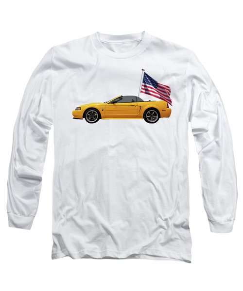 Patriotic Yellow Mustang With Us Flag Long Sleeve T-Shirt