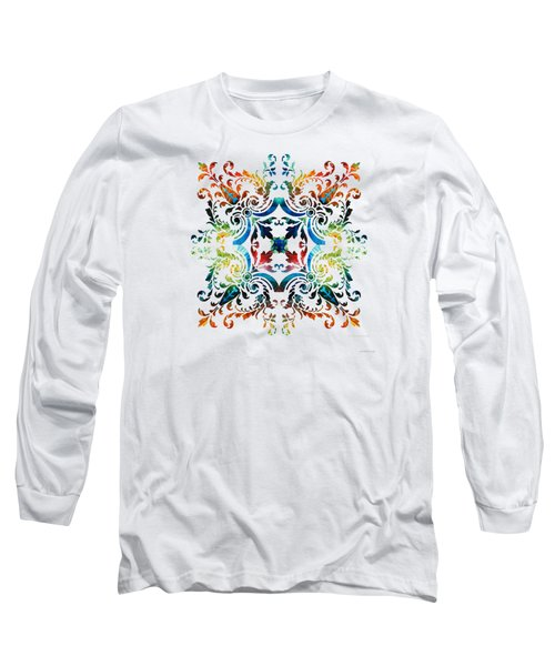 Long Sleeve T-Shirt featuring the painting Pattern Art - Color Fusion Design 7 By Sharon Cummings by Sharon Cummings