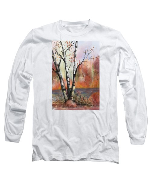 Long Sleeve T-Shirt featuring the painting Peaceful River by Annette Berglund