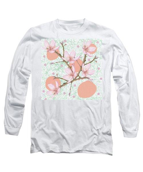 Peach Blossom Pattern Long Sleeve T-Shirt