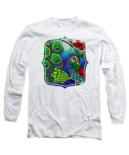 Peacock Zentangle Inspired Art Long Sleeve T-Shirt