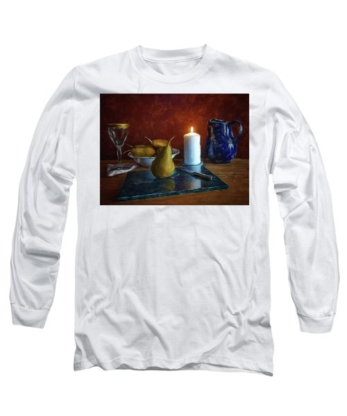 Pears By Candlelight Long Sleeve T-Shirt by Mark Fuller